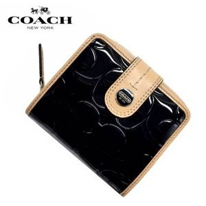 Embossed Patent Leather Coach Wallet